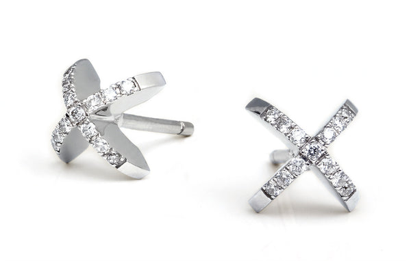 Diamond Sequin Stud Earrings. White Gold