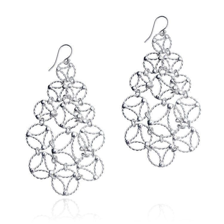 Lace Chandelier Earrings. Sterling Silver