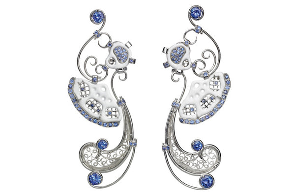 """Folklore"", Tanzanite & Enamel 18ct Gold Earrings"