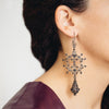 Filigree Silky Drop Chandelier Earrings. Black