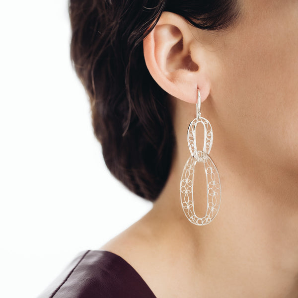 Filigree Links Drop Earrings. White