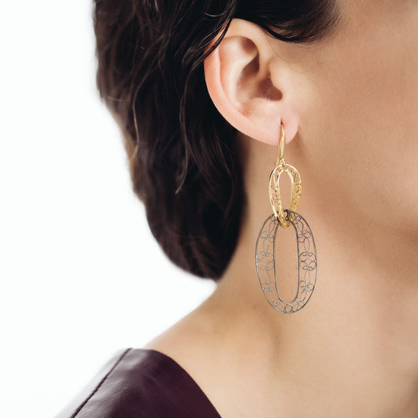 Filigree Links Drop Earrings. Gold and Black