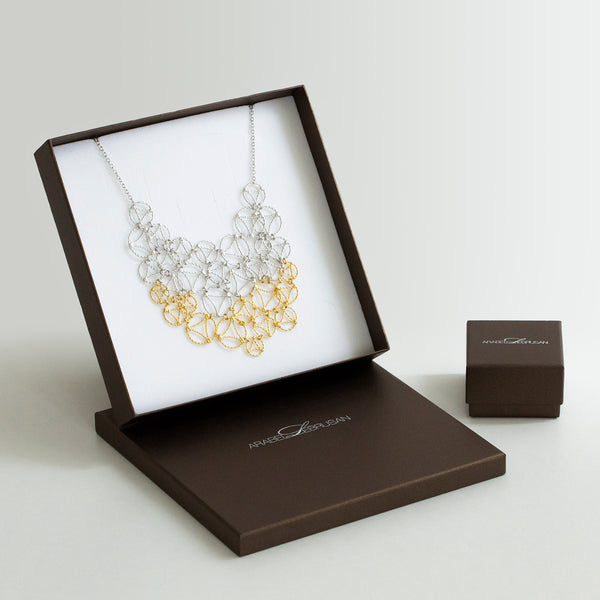 Lace Necklace, Two-Tone Gold & Black
