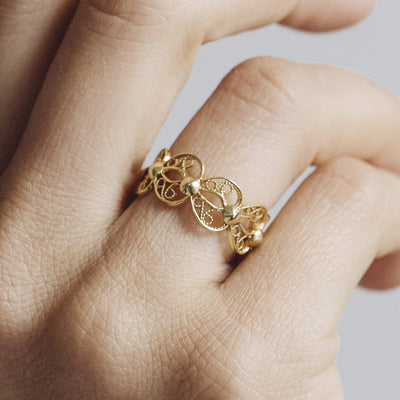 Filigree Enchanting Heart Ring in Silver