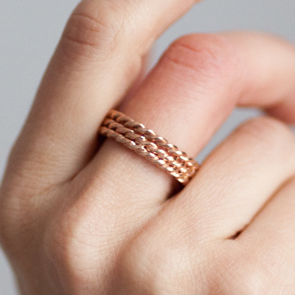 Lace Triple Ring. Rose Gold