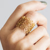 Filigree Double Clover Ring. Yellow Gold