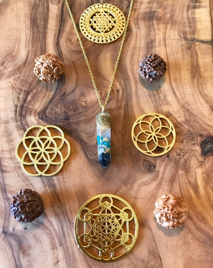 Turquoise Sea Goddess Orgone Orgonite® Pendant For Peace, Protection & Purification
