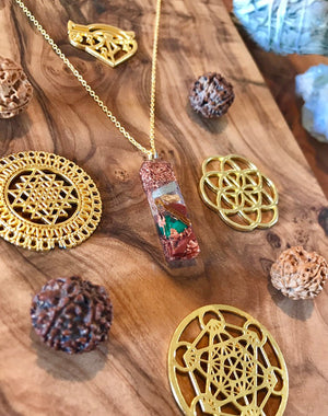 Kundalini Malachite Orgone Orgonite® Pendant For Joy, Transformation & DNA Activation