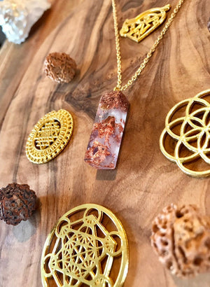 Golden Triangle Amethist Orgone Orgonite® Pendant For Wisdom, Intuition & Protection