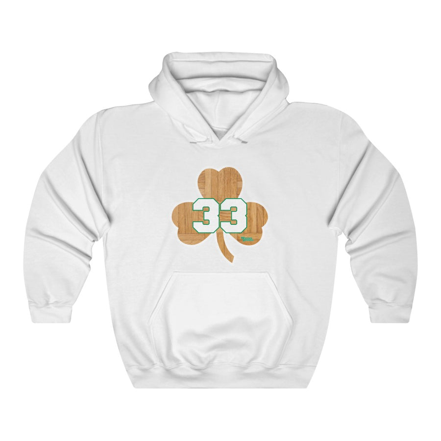 Unisex Outah-Wear Boston Basketball Shamrock #33 Wood Floor Hooded Sweatshirt