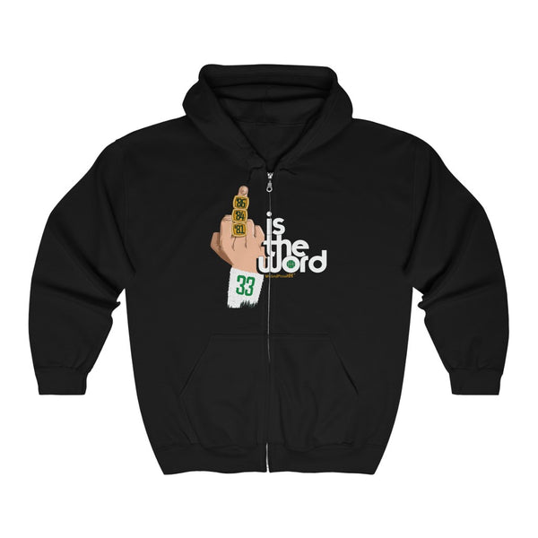 Unisex Outah-Wear Bird is the Word Middle Finger Heavy Full Zip Hoodie