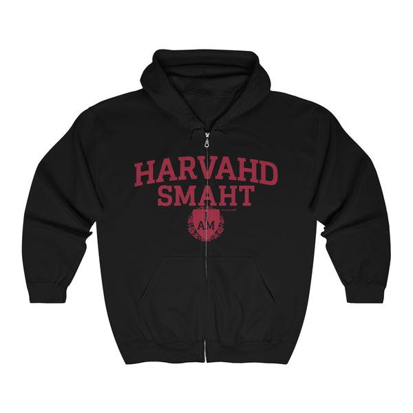 '-Unisex Outah-Wear Harvahd Smaht Shield Maroon Letters Heavy Full Zip Hoodie