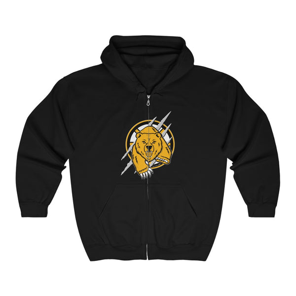 Unisex Outah-Wear Boston Hockey Bear with slashes Full Zip Hooded Sweatshirt