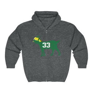 Unisex Outah-Wear Boston Basketball GOAT #33 Heavy Full Zip Hooded Sweatshirt