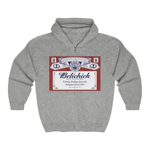 Unisex Outah-Wear Belichick King of Coaches Heavy Full Zip Hoodie