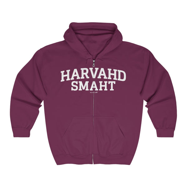 '-Unisex Outah-Wear Harvahd Smaht Heavy Full Zip Hoodie