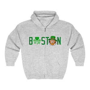 Unisex Outah-Wear Boston Logo W/Angry Leprechaun  Heavy Full Zip Hoodie