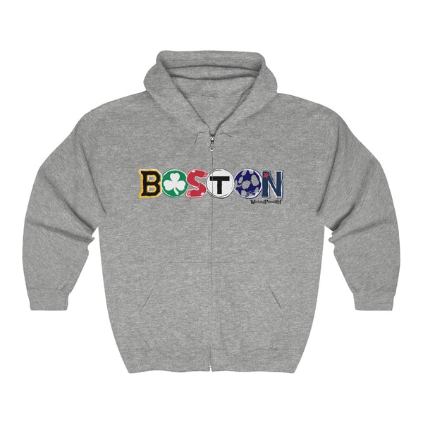 '-Unisex Outah-Wear Boston Logo Team Themed Heavy Full Zip Hoodie