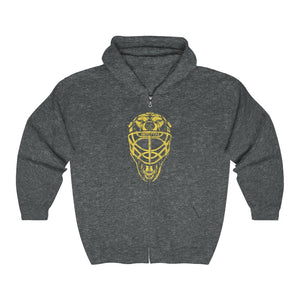 Unisex Outah-Wear Boston Hockey: Bear Goalie Mask Heavy Blend™ Full Zip Hooded Sweatshirt