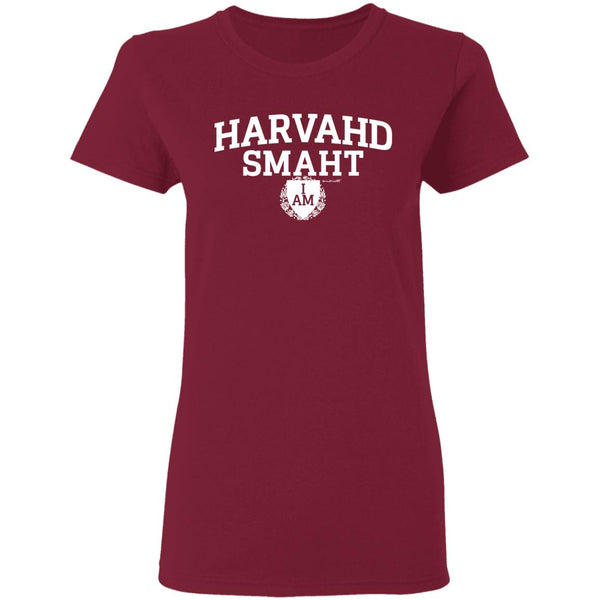 Women's Premium Cotton Harvahd Smaht w/Shield white letters+