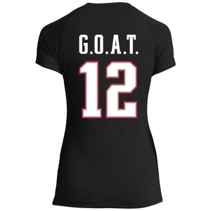 Women's Premium Cotton G.O.A.T. Jersey #12 Red Letters+