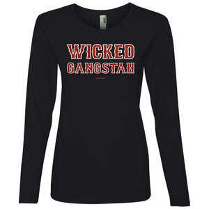 Women's Premium Cotton Wicked Gangstah Red Letters+