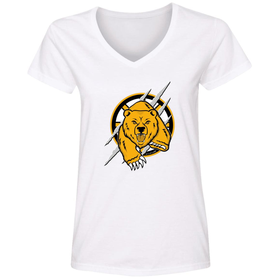 WPFC Women's V-Neck T-Shirt Boston Hockey Angry Bear