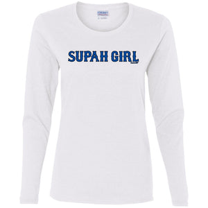 Women's Premium Cotton Supah Girl Blue Letters