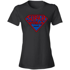 Women's Premium Cotton Supah Woman Diamond Red Letters