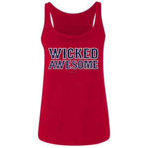 Women's Premium Cotton Wicked Awesome Blue Letters+