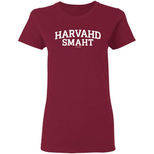 Women's Premium Cotton Harvahd Smaht White Letters+