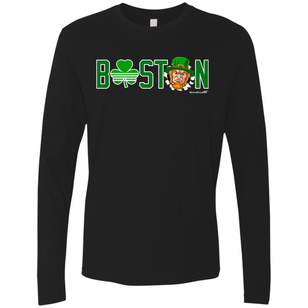 -Men's Premium Cotton Boston Basketball Angry Leprechaun Front/Back