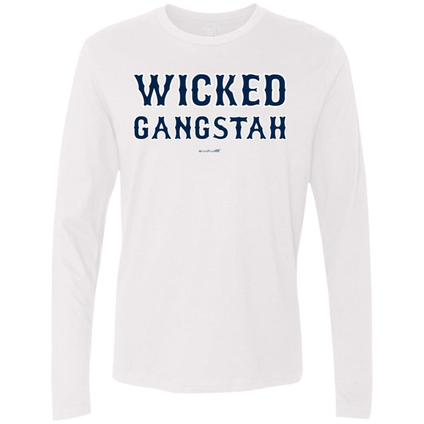 -Men's Premium Cotton Wicked Gangstah Blue Letters