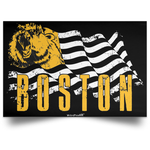 Horizontal Portrait Boston Hockey Flag