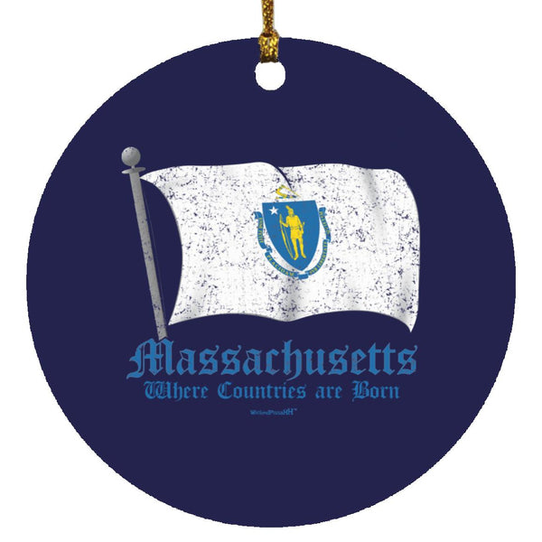 Massachusetts Flag Ornament