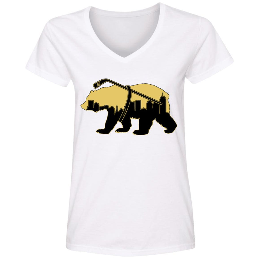 WPFC Women's V-Neck T-Shirt Boston Hockey Mascot
