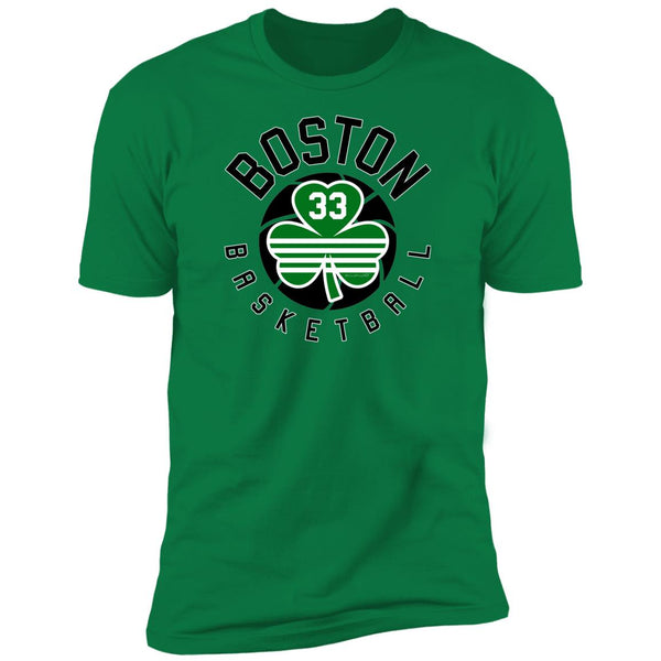 Men's Premium Cotton Boston Basketball w/ #33 Shamrock