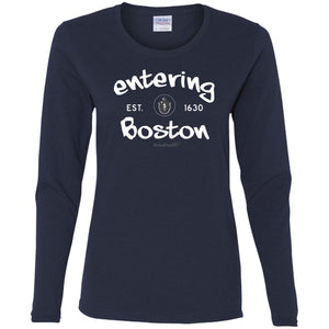 Women's Premium Cotton Entering Boston White Letters+