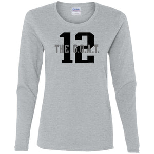 Women's Premium Cotton G.O.A.T. 12 w/Stats on Back Black Letters+