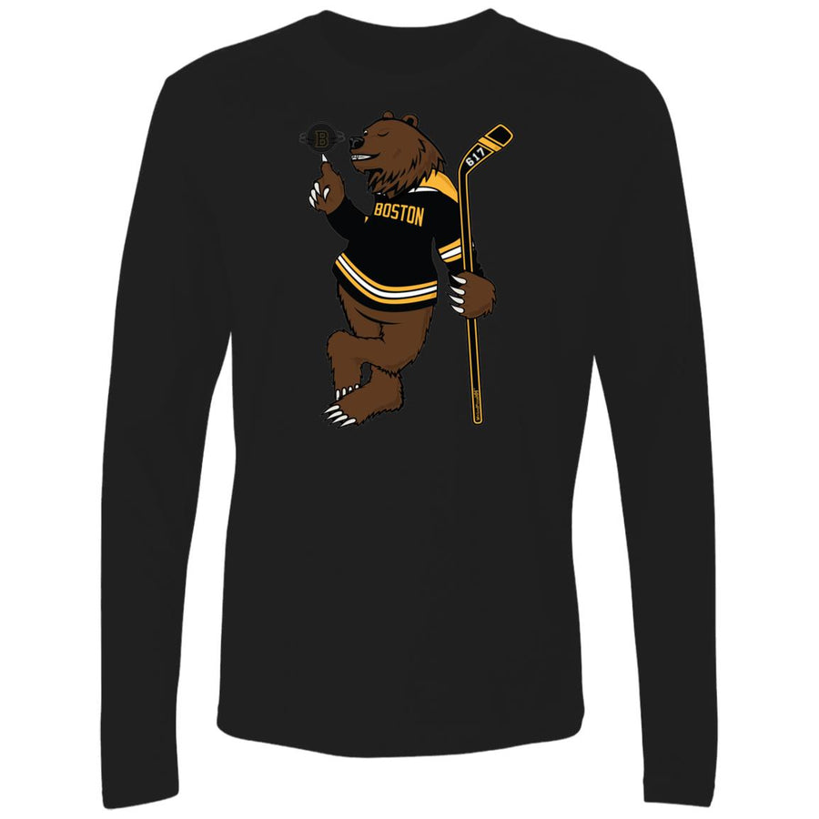 Men's Premium Cotton Boston Hockey Bear w/Spinning Puck