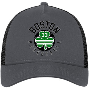 Boston Basketball #33 Clover Snapback Trucker Hat