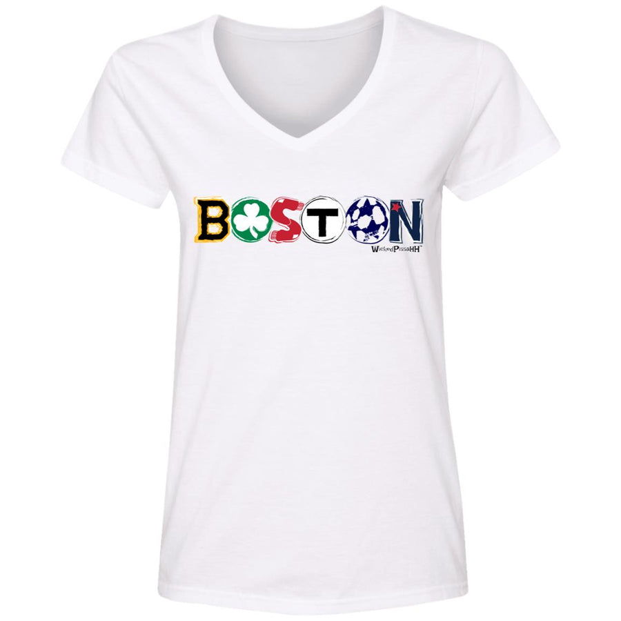WPFC Women's V-Neck T-Shirt Boston Logo All Teams