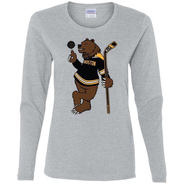 Women's Premium Cotton Boston Hockey Bear w/Spinning Puck