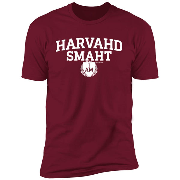-Men's Premium Cotton Harvahd Smaht w/Shield White Letters
