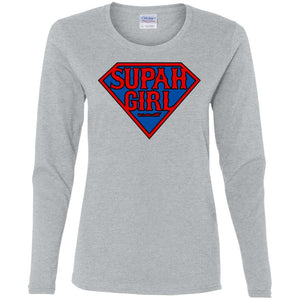Women's Premium Cotton Supah Girl Diamond Red Letters