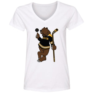 WPFC Women's V-Neck T-Shirt Boston Hockey Bear with Spinning Puck
