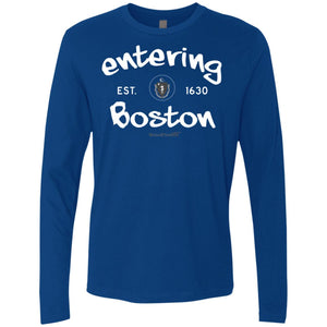 -Men's Premium Cotton Entering Boston Sign White Lettering