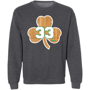 Unisex Cotton Crewneck Sweatshirt Boston Basketball Shamrock #33 Wood Floor
