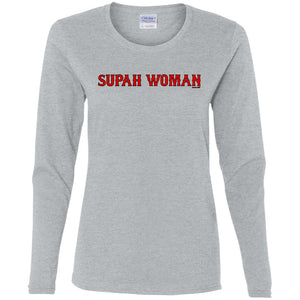 Women's Premium Cotton Supah Woman Red Letters