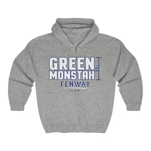 Unisex Outah-Wear Green Monstah Heavy Full Zip Hoodie
